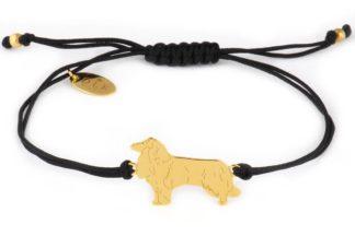 Bransoletka z owczarkiem szkockim złotym na czarnym sznurku