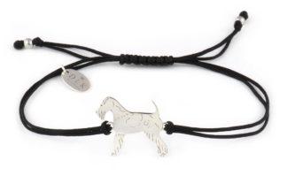 Bransoletka z foksterierem srebrnym na czarnym sznurku
