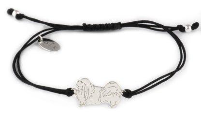 Bransoletka z pekińczykiem srebrnym na czarnym sznurku