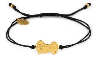 Bransoletka z pekińczykiem złotym na czarnym sznurku