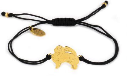 Bransoletka z pomeranianem złotym na czarnym sznurku