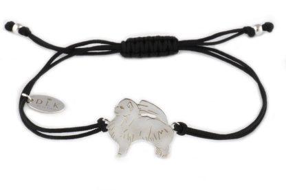 Bransoletka z pomeranianem srebrnym na czarnym sznurku