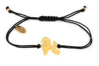 Bransoletka z pudlem złotym na czarnym sznurku