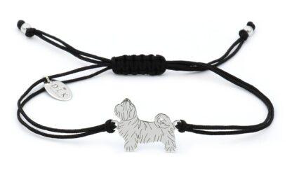 Bransoletka z psem shih tzu srebrnym na czarnym sznurku