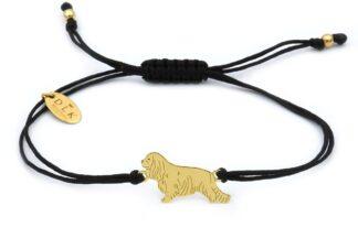 Bransoletka z psem cavalierem złotym na czarnym sznurku