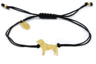 Bransoletka z psem staffikiem (Staffordshire bull terrier) złotym na czarnym sznurku