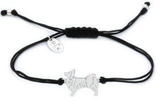 Bransoletka z psem papillonem srebrnym na czarnym sznurku