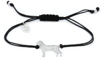 Bransoletka z psem posokowcem srebrnym na czarnym sznurku