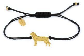 Bransoletka z psem posokowcem złotym na czarnym sznurku