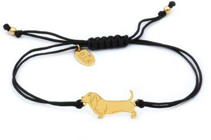 Bransoletka z psem bassetem złotym na czarnym sznurku
