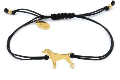 Bransoletka z psem wyżłem złotym na czarnym sznurku