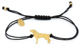 Bransoletka z psem gończym polskim złotym na czarnym sznurku