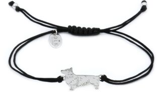 Bransoletka z psem corgi srebrnym na czarnym sznurku