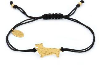 Bransoletka z psem corgi złotym na czarnym sznurku