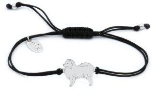 Bransoletka z psem samoyedem srebrnym na czarnym sznurku