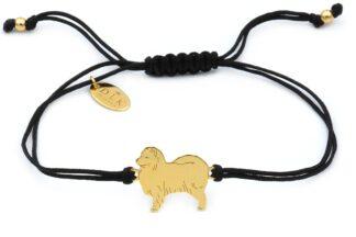 Bransoletka z psem samoyedem złotym na czarnym sznurku