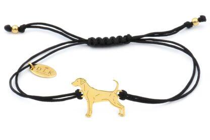 Bransoletka z psem dobermanem złotym na czarnym sznurku