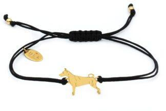 Bransoletka z psem pinczerem złotym na czarnym sznurku