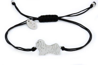 Bransoletka z psem hawańczykiem srebrnym na czarnym sznurku