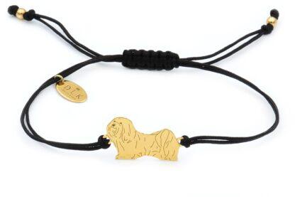 Bransoletka z psem hawańczykiem złotym na czarnym sznurku