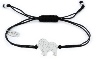 Bransoletka z psem chow chow srebrnym na czarnym sznurku
