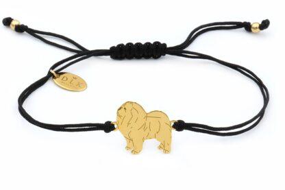 Bransoletka z psem chow chow złotym na czarnym sznurku