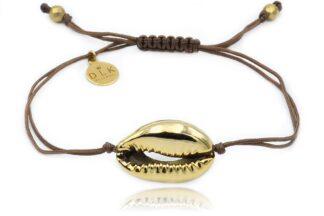 Bransoletka ze złotą muszlą Kauri na brązowym sznurku