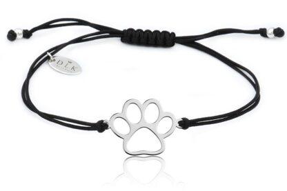 Bransoletka z łapą psa srebrną na czarnym sznurku