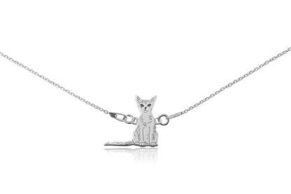 Naszyjnik z kotem abisyńskim srebrnym na łańcuszku