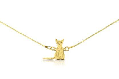 Naszyjnik z kotem abisyńskim złotym na łańcuszku