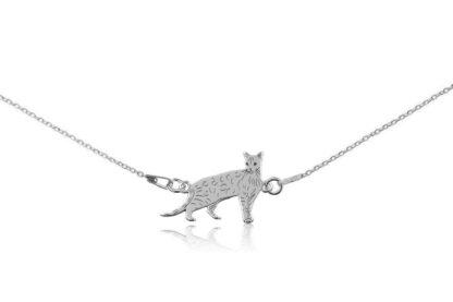 Naszyjnik z kotem bengalskim srebrnym na łańcuszku