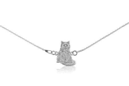 Naszyjnik z kotem birmańskim srebrnym na łańcuszku