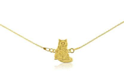 Naszyjnik z kotem birmańskim złotym na łańcuszku