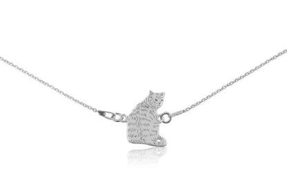 Naszyjnik z kotem dachowcem srebrnym na łańcuszku