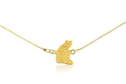 Naszyjnik z kotem dachowcem złotym na łańcuszku