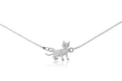 Naszyjnik z kotem devon rex srebrnym na łańcuszku