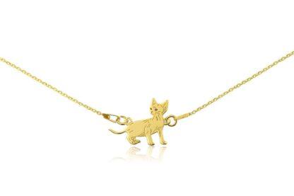 Naszyjnik z kotem devon rex złotym na łańcuszku