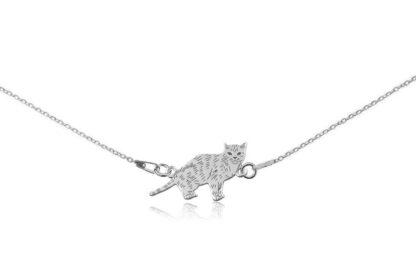 Naszyjnik z kotem europejskim srebrnym na łańcuszku