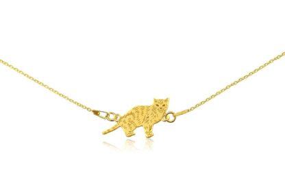 Naszyjnik z kotem europejskim złotym na łańcuszku