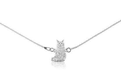 Naszyjnik z kotem main coon srebrnym na łańcuszku