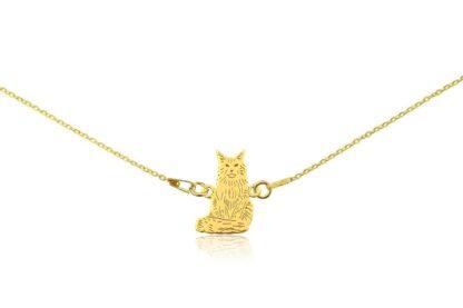 Naszyjnik z kotem main coon złotym na łańcuszku