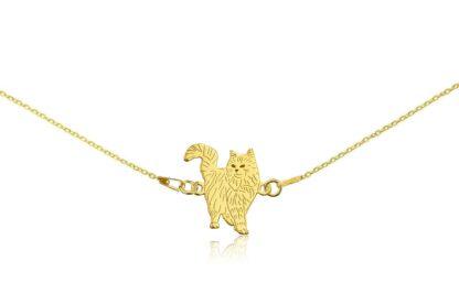 Naszyjnik z kotem norweskim złotym na łańcuszku