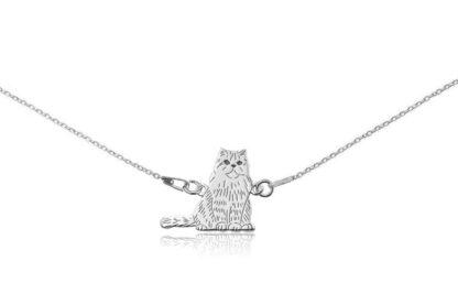 Naszyjnik z kotem perskim srebrnym na łańcuszku