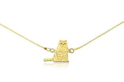 Naszyjnik z kotem perskim złotym na łańcuszku