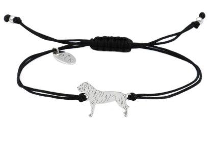 Bransoletka z cane corso srebrnym na czarnym sznurku