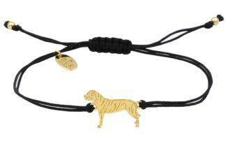 Bransoletka z cane corso złotym na czarnym sznurku