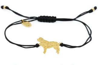 Bransoletka z bernardynem złotym na czarnym sznurku