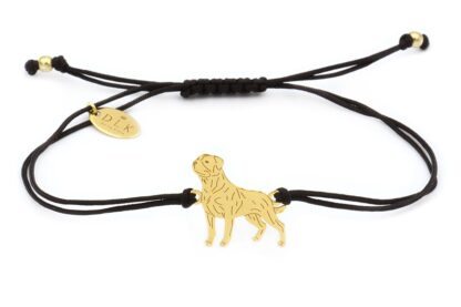 Bransoletka z rottweilerem złotym na czarnym sznurku