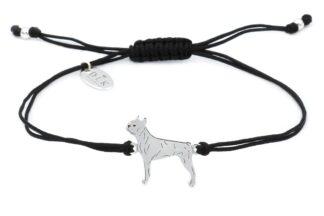 Bransoletka z Boston terrierem srebrnym na czarnym sznurku