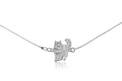 Naszyjnik z kotem ragdoll srebrnym na łańcuszku